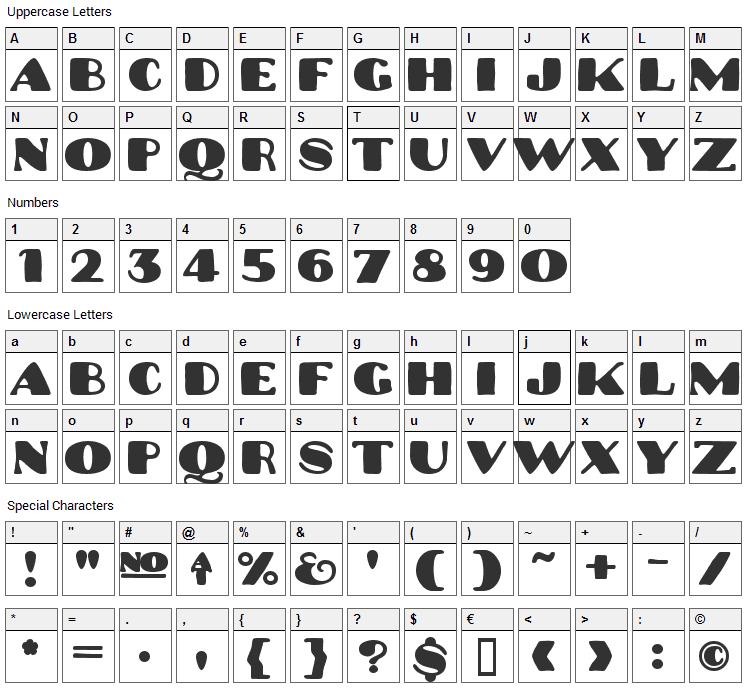 Platinum Hub Caps Font Character Map