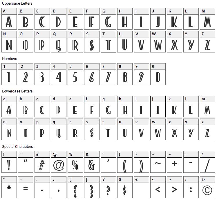 Platonick Font Character Map