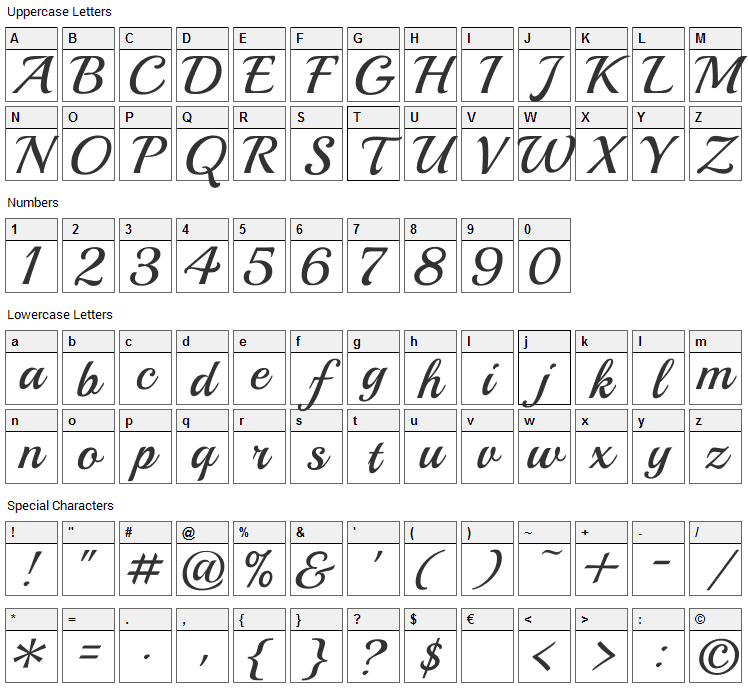 Playball Font Character Map