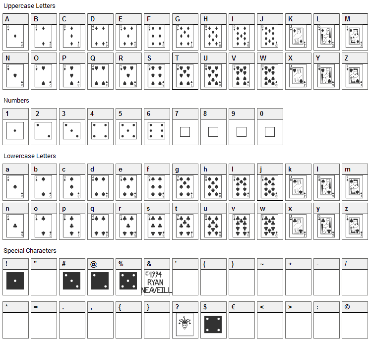 Playing Cards Font Character Map