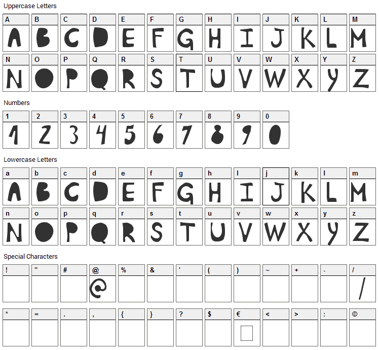 Plumon Font Character Map