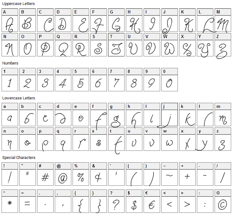 Point-Dexter Font Character Map