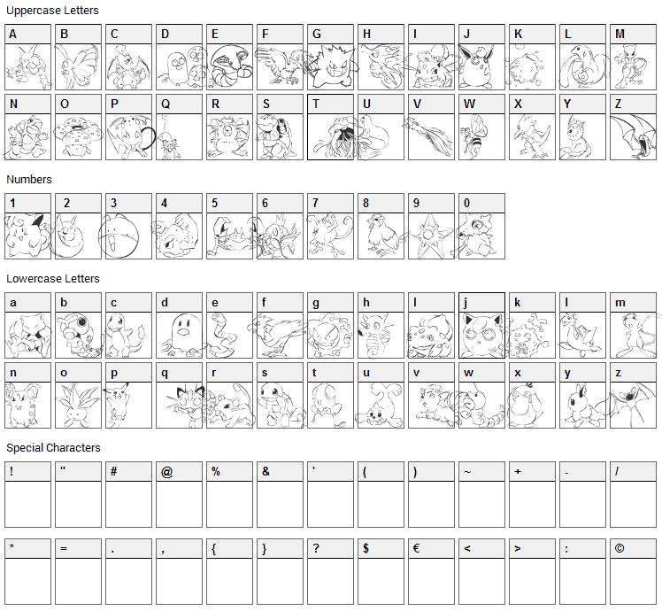 Pokemon Master Font Character Map