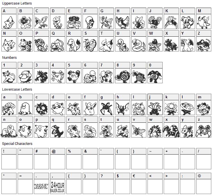 Pokemon Pixels Font Character Map