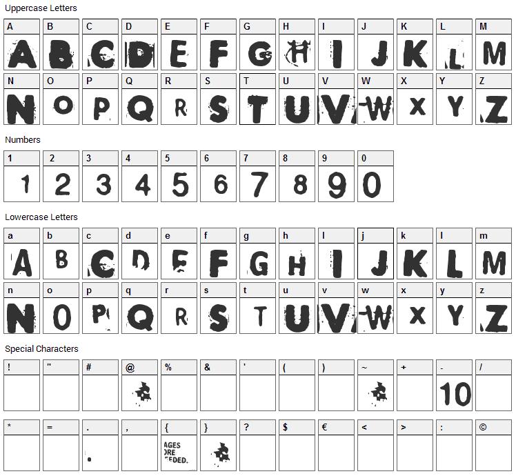 Polaroid 22 Font Character Map