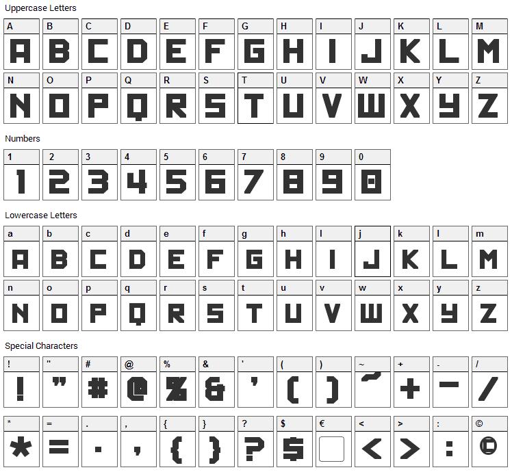 Politik Font Character Map