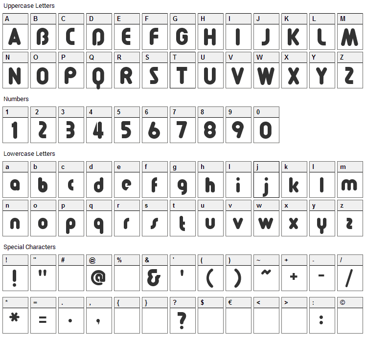 Pollyanna Font Character Map