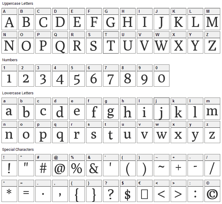 Poly Font Character Map
