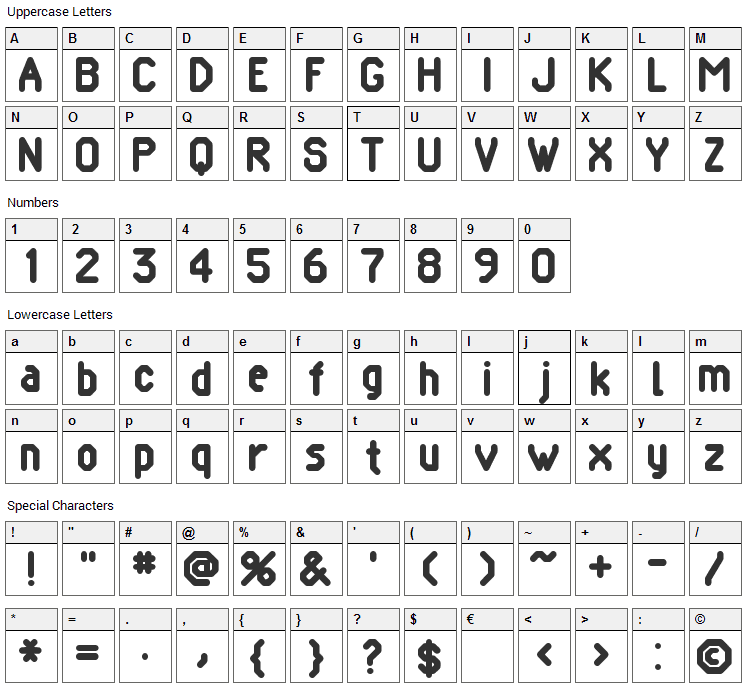 Pomcute Font Character Map