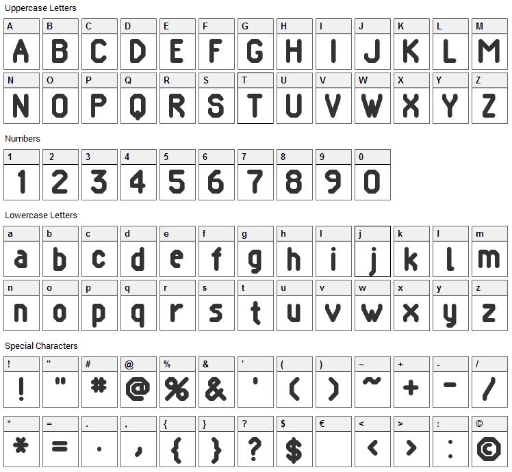 Pomcute Font Character Map