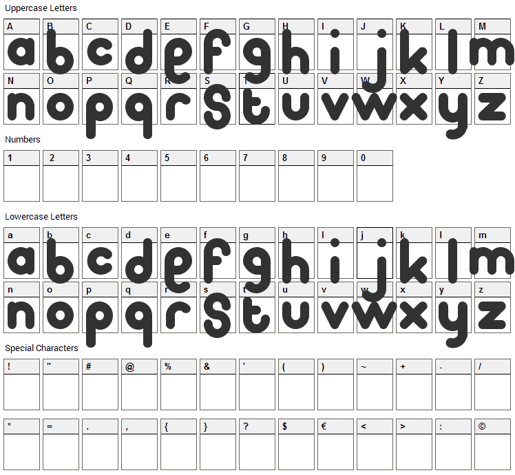 Pooplatter Font Character Map