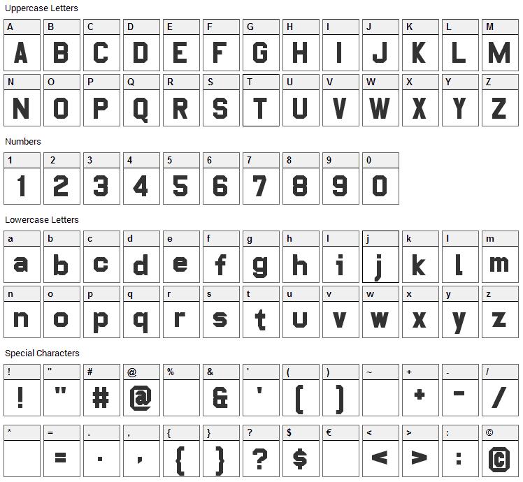 Pop Warner Font Character Map