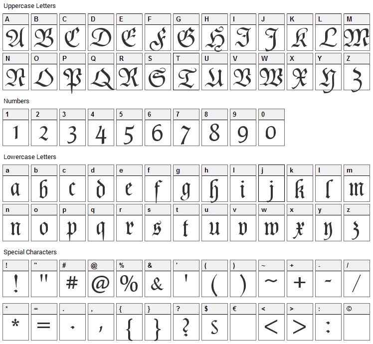 Poppl Fraktur Font Character Map