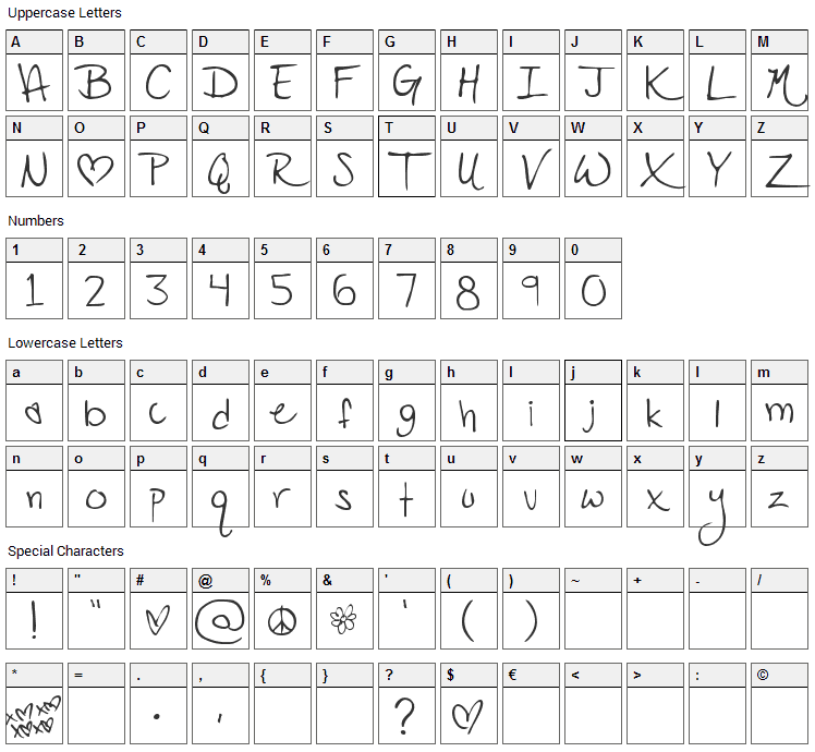 PopStar Autograph Font Character Map
