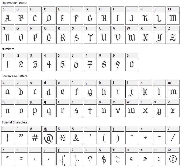 Por Siempre Gotica Font Character Map