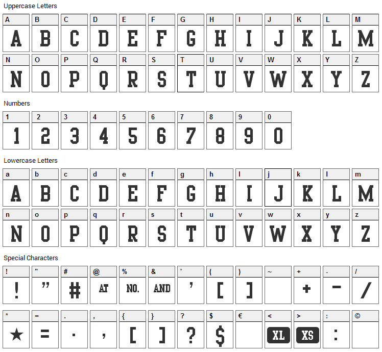 Porn Star Academy Font Character Map