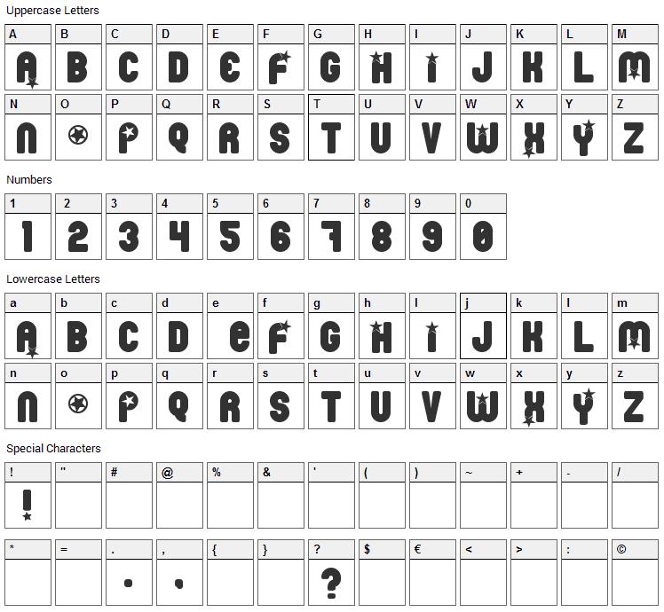 Pornstar Font Character Map