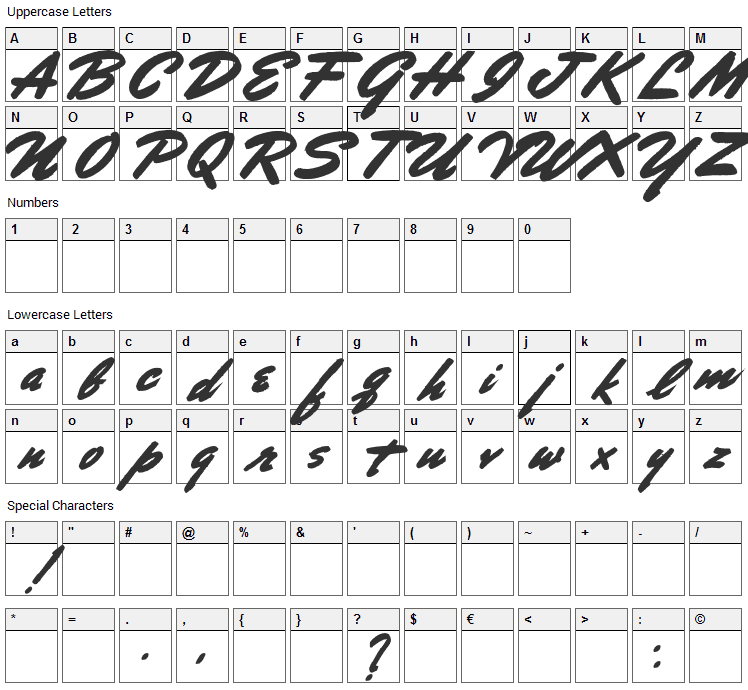 Porongo Font Character Map