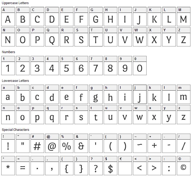 Port Lligat Sans Font Character Map