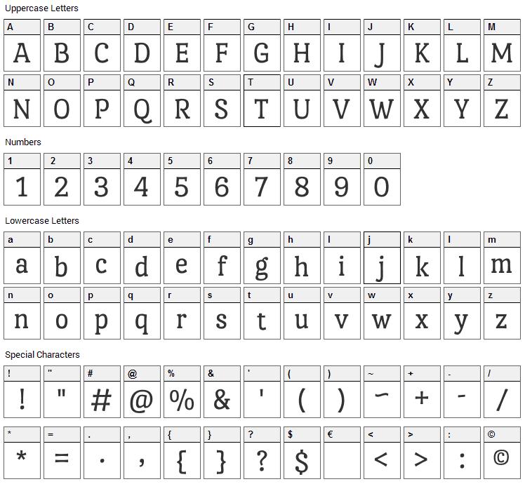Port Lligat Slab Font Character Map