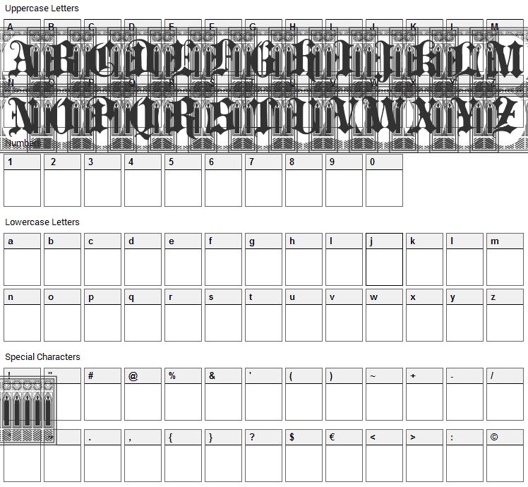 Portculliard Font Character Map