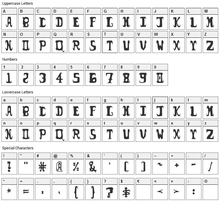 Possum Droppings Font Character Map