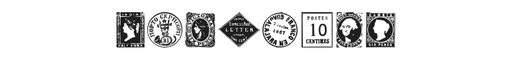 Postage Stamps Font Preview