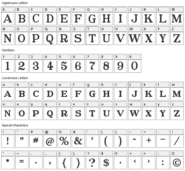 Postamt Font Character Map