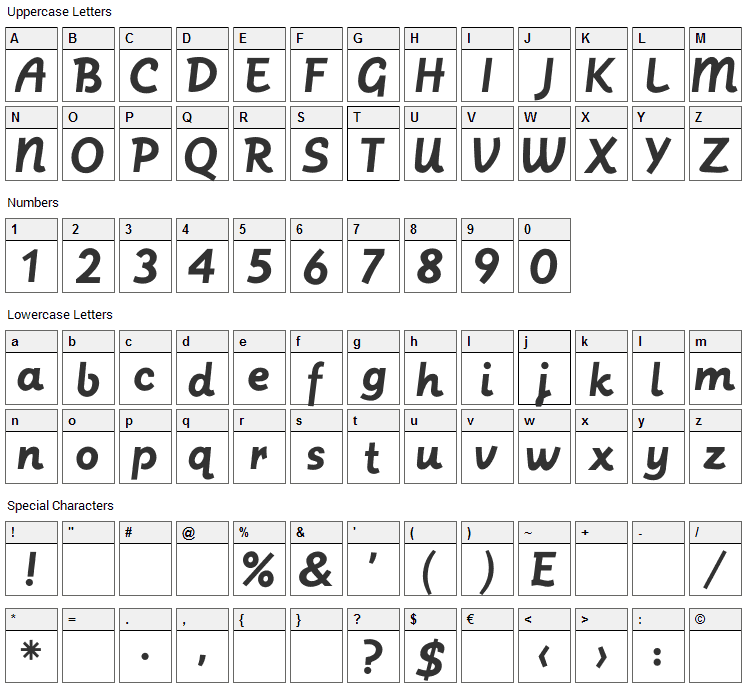 Postface Font Character Map