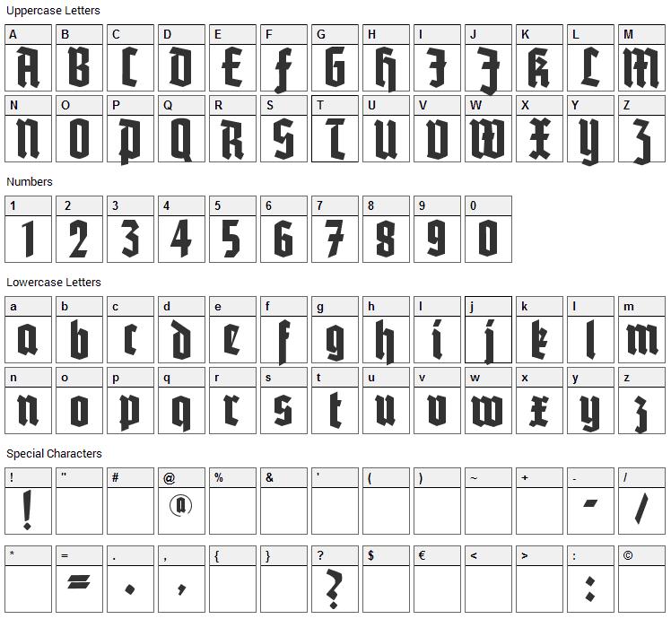 Potsdam Font Character Map