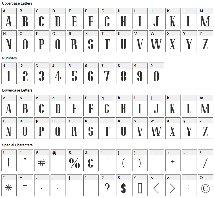 Pottery Barn Font Character Map