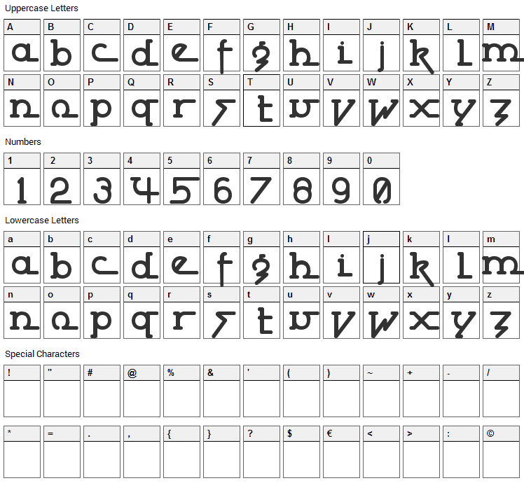 Powderworks Font Character Map