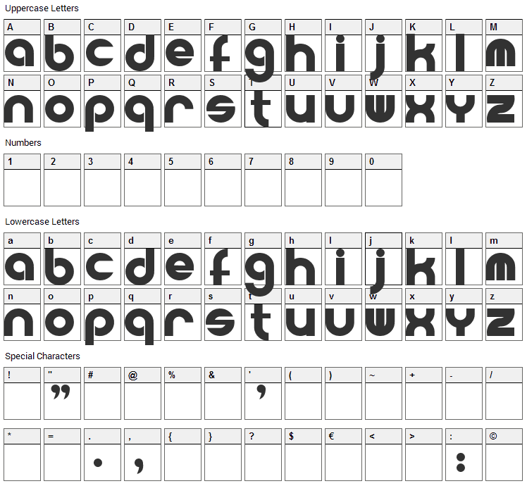 Powerweld Font Character Map