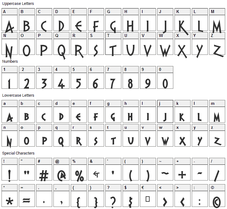 PR Agamemnon Font Character Map