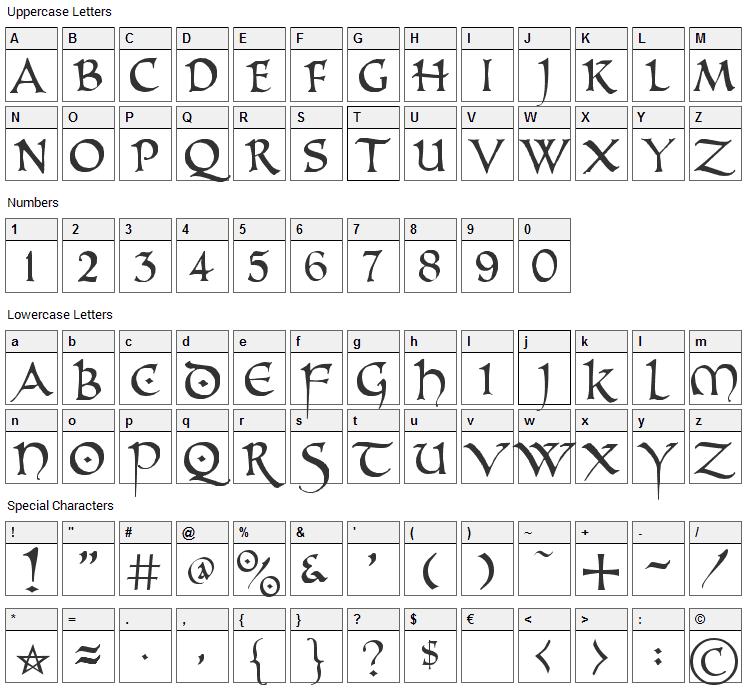PR Uncial Alt Caps Font Character Map