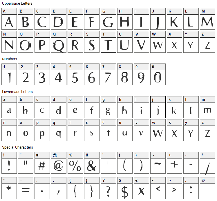 Prehistoric Font Character Map