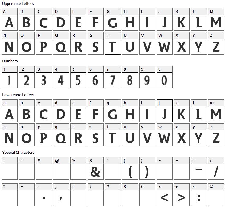 Premier League Font Character Map