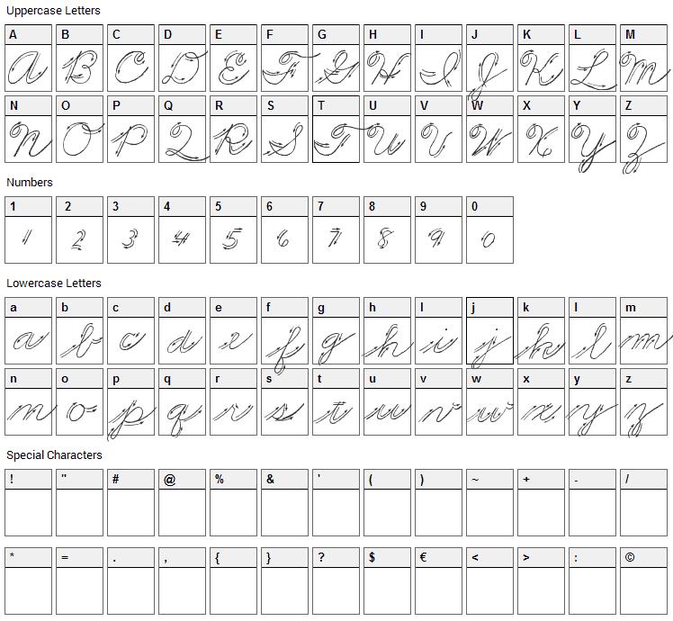 Premiers Mots Script Font Character Map