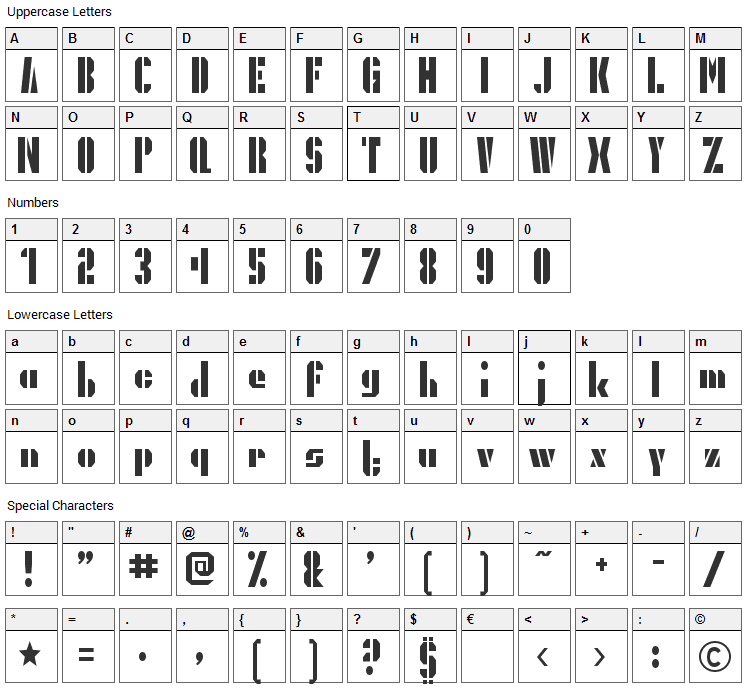 President Gas Font Character Map