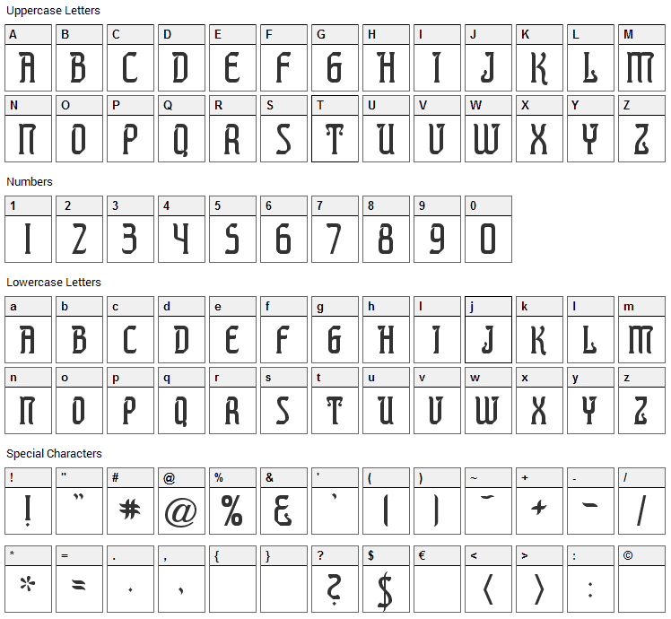 Presidente Tequila Font Character Map