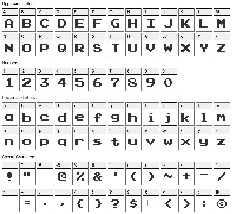 Press Start Font Character Map