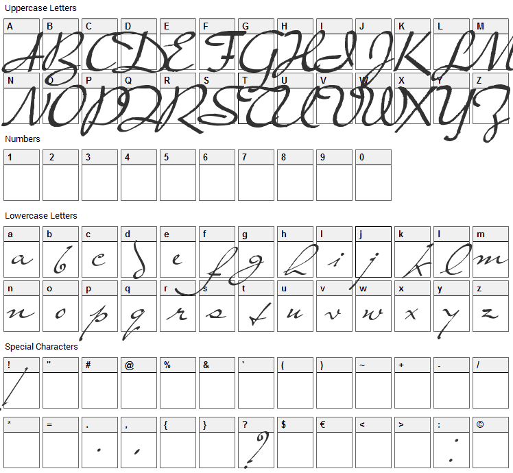 Prester John Font Character Map