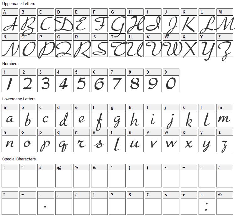 Presto Font Character Map