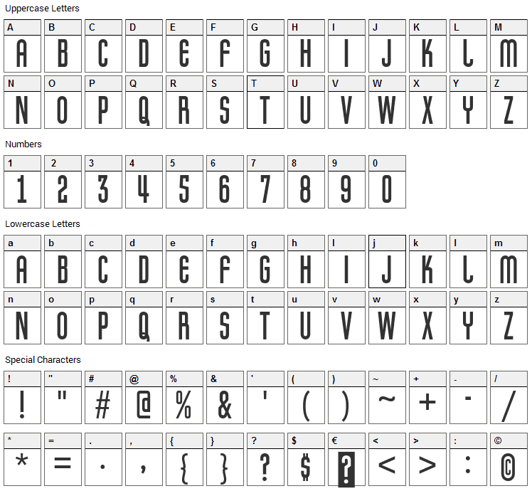 Pretender Font Character Map