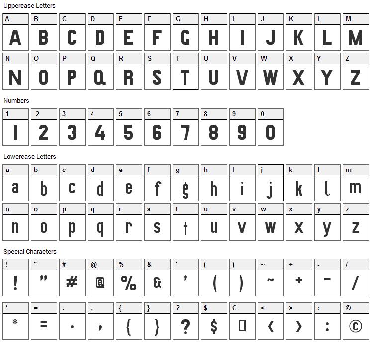 Preussische VI 9 Font Character Map