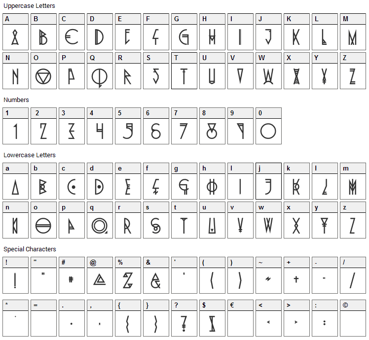 Pride Of The Young Font Character Map