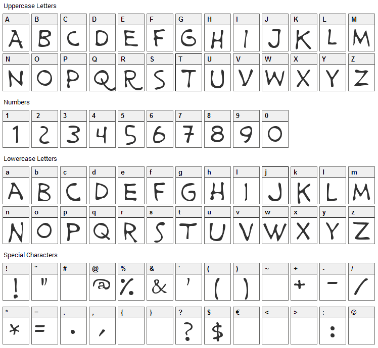 Prime Minister of Canada Font Character Map