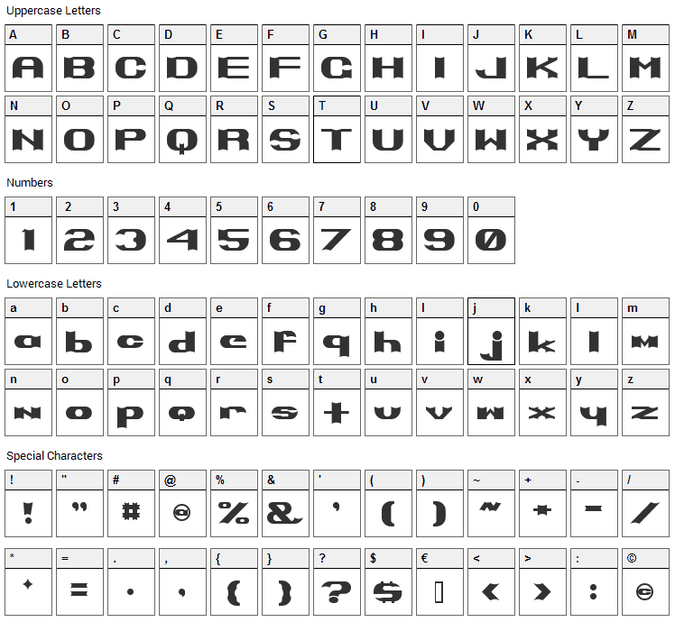 Primo Font Character Map