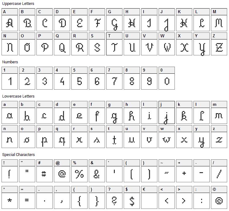 Primus Script Font Character Map