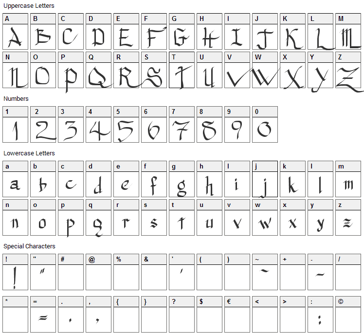 Princess Lulu Font Character Map